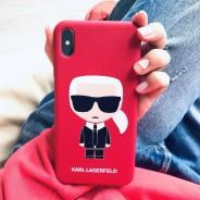 Чехол Lagerfeld для iPhone XS Max Liquid silicone Iconic Karl Hard Red