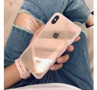 Противоударный кристально-прозрачный чехол для iPhone XS/ X, с нежно-розовым кантом