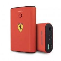 Аккумулятор внешний универсальный Ferrari АКБ внешняя 7500 mAh, LED-индикатор, USB-C PD in/out +USB QC3.0 Rubber Red, красный