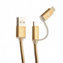 USB дата-кабель COTEetCI M9 NYLON series 2в1 Lightning+MicroUsb cable CS2112-GD (1.0 м) золотистый