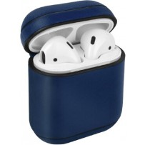 Чехол Uniq для Airpods 1/2 Terra Genuine Leather Blue