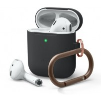 Чехол Elago для AirPods Gen 1 & 2 Slim silicone Hang case Black