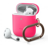 Чехол Elago для AirPods Gen 1 & 2 Slim silicone Hang case Neon hot pink