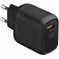 Сетевой адаптер EnergEA СЗУ Ampcharge, USB-C PD18 +USB-A QC3.0 18W Black