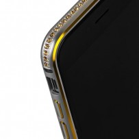 Бампер металлический COTEetCI для iPhone 6s/ 6 (4.7) - (CS1918-G) Серебристый с золотыми кристаллами и золотой полоской