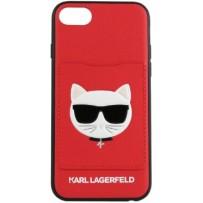 Чехол Karl Lagerfeld для iPhone 7/8/ SE (2020) Leather with cardslot Choupette's Head Hard Red