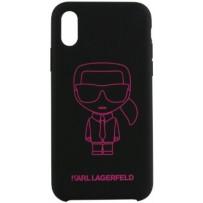 Чехол Karl Lagerfeld для iPhone X/XS Liquid silicone Ikonik outlines Hard Black/Pink