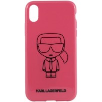 Чехол Karl Lagerfeld для iPhone XR Ikonik outlines Hard PC/TPU Pink/Black