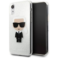 Чехол Karl Lagerfeld для iPhone XR TPU collection Karl Iconik Hard Glitter Silver