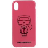 Чехол Karl Lagerfeld для iPhone XS Max Ikonik outlines Hard PC/TPU Pink/Black