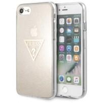 Чехол GUESS для iPhone 7/8 SE 2 Triangle logo Hard TPU Glitter Gold