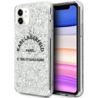 Чехол KARL Lagerfeld для iPhone 11 Liquid glitter Rue Saint Guillaume Hard Silver