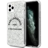 Чехол KARL Lagerfeld для iPhone 11 Pro Max Liquid glitter Rue Saint Guillaume Hard Silver
