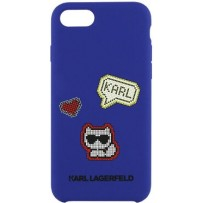 Чехол Karl Lagerfeld для iPhone 7/8/SE 2020 Liquid silicone Pixel Choupette Hard Blue