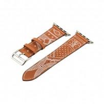 Ремешок кожаный COTEetCI W13 Fashion LEATHER (WH5219-KR-42) для Apple Watch 44мм/ 42мм Коричнево-белый
