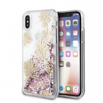 Чехол Guess для iPhone X/XS Glitter Palm spring Hard Pink rose (GUHCPXGLUPPI)