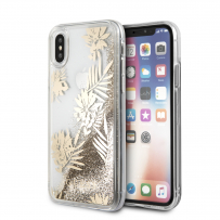 Чехол Guess для iPhone X/XS Glitter Palm spring Hard Gold (GUHCPXGLUPRG)