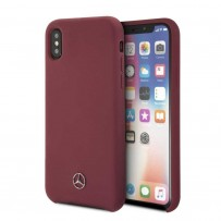 Чехол Mercedes-Benz для iPhone X/XS Silicone line Hard Red