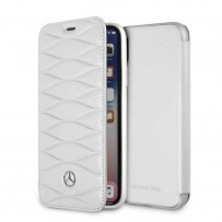 Чехол Mercedes-Benz для iPhone X/XS New Pattern lll Booktype Leather White