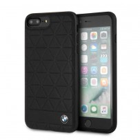 Чехол BMW для iPhone 7/8 Plus Signature Embossed hexagon Hard Leather Black