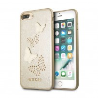 Чехол Guess для iPhone 7/ 8 Plus Studs&Sparkles Hard PU/Butterflies Beige