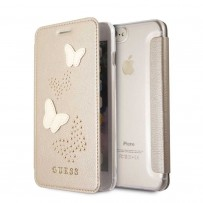 Чехол Guess для iPhone 7/ 8 Plus Studs&Sparkles Booktype PU/Butterflies Beige