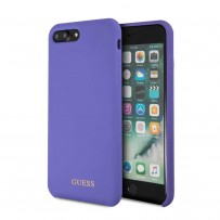 Чехол Guess для iPhone 7/ 8 Plus Silicone collection Gold logo Hard Purple