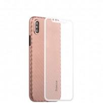 """Чехол-накладка карбоновая Coblue 4D Glass & Carbon Case (2в1) для iPhone XS/ X (5.8"""") Розовый"""