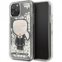 Чехол KARL Lagerfeld для iPhone 11 Pro Max Liquid glitter Iconic Karl Hard Iridescent (светится в темноте)