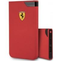 Аккумулятор внешний универсальный Ferrari 10000 mAh, цифровой дисплей, 2 USB Rubber, красный