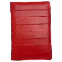 Обложка на паспорт из натуральной кожи угря, красный