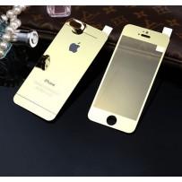 """Двусторонние защитное стекло """"Mirror"""" для iPhone 5/5S, золото."""