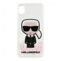 Чехол KARL Lagerfeld для iPhone XS Max Liquid glitter Karl Iconik Hard Transp (светится в темноте)