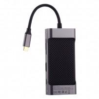 Переходник Baseus Square Desk HUB (CATXF-OG) 87W Type-C to USB3.0x2/ HDMI/ Type-C/ TF/ SD/ LAN для MacBook Графитовый