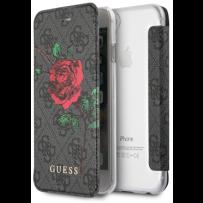 Чехол GUESS для iPhone 7/8/ SE (2020) Flower desire 4G Booktype PU/roses Grey