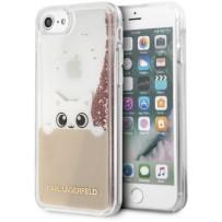 Чехол Karl Lagerfeld для iPhone 7/8/ SE (2020) Liquid glitter Peek a Boo Hard Transp/Pink gold