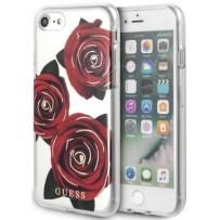 Чехол GUESS для iPhone 7/8/ SE (2020) Flower desire Transparent Hard PC/Roses Pink/White
