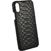 Чехол TORIA для iPhone XS Max Exotic Python Hard Black, натуральная кожа питона