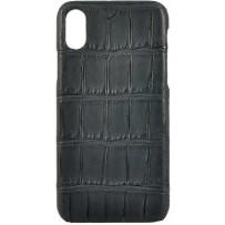 Чехол TORIA для iPhone XS Max Exotic Crocodile Hard Black, натуральная кожа крокодила