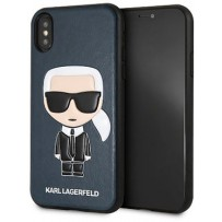 Чехол Karl Lagerfeld для iPhone X/XS PU Leather Iconic Karl Hard Blue