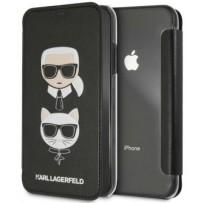 Чехол Karl Lagerfeld для iPhone 7/8/ SE (2020) Leather Karl and Choupette Booktype Black