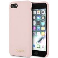 Чехол GUESS для iPhone 7/8 SE 2 Silicone collection Gold logo Hard Light Pink