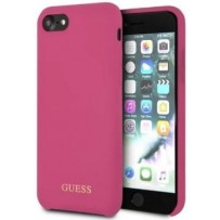 Чехол GUESS для iPhone 7/8 SE 2 Silicone collection Gold logo Hard Pink