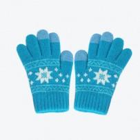 """Детские сенсорные перчатки iGloves """"Снежинки"""", морская волна."""