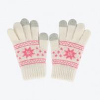 """Детские сенсорные перчатки iGloves """"Снежинки"""", белый."""
