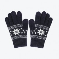 """Детские сенсорные перчатки iGloves """"Снежинки"""", темно-синий."""