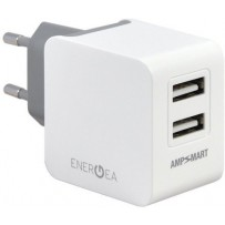 Сетевой адаптер EnergEA СЗУ Ampcharge, 2 USB + кабель Lightning MFI White 3.4A