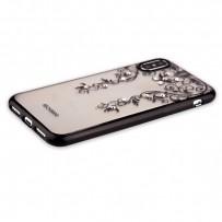 """Накладка силиконовая Beckberg Monsoon series для iPhone XS/ X (5.8"""") со стразами Swarovski вид 3 Черный"""