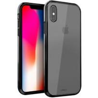 Противоударный чехол-лёд для iPhone Xs Max, кристально-прозрачный, с чёрным кантом