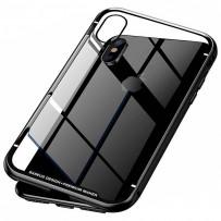 Чехол закаленное стекло с магнитной рамкой Magnetite Hardware для iPhone XS/ X Черный